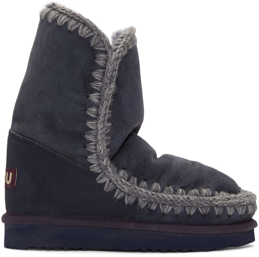 Mou Navy Eskimo 24 Boots In Blue