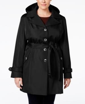 Calvin Klein Petite Hooded Single-breasted Trench Coat, Created For Macy's In Black