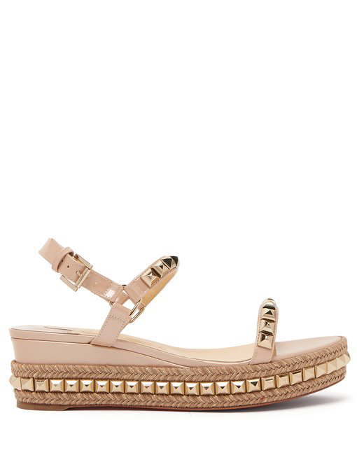 6a7c5a420b4e Christian Louboutin Cataclou 60 Embellished Patent-Leather Wedge Espadrille  Sandals In Neutral