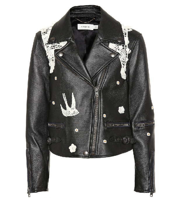 Coach Lace-Embroidered Leather Jacket In Black