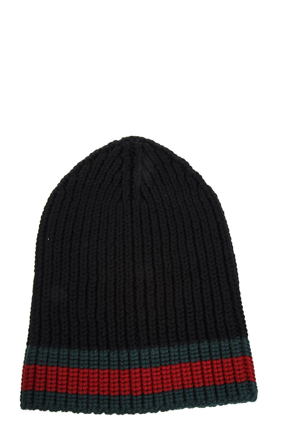 78ce0e867a523 Gucci Web Wool Cable Knit Beanie Hat In Black