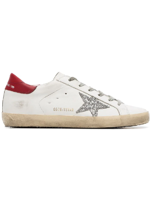 3438fe4618ab Golden Goose Superstar Sneakers In White/Red/Silver Glitter Star ...