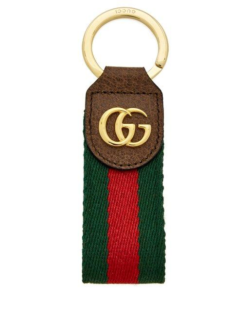 cb5597d90aa Gucci Ophidia Tricolour Leather Keyring In Signature Tricolour Motif On Body