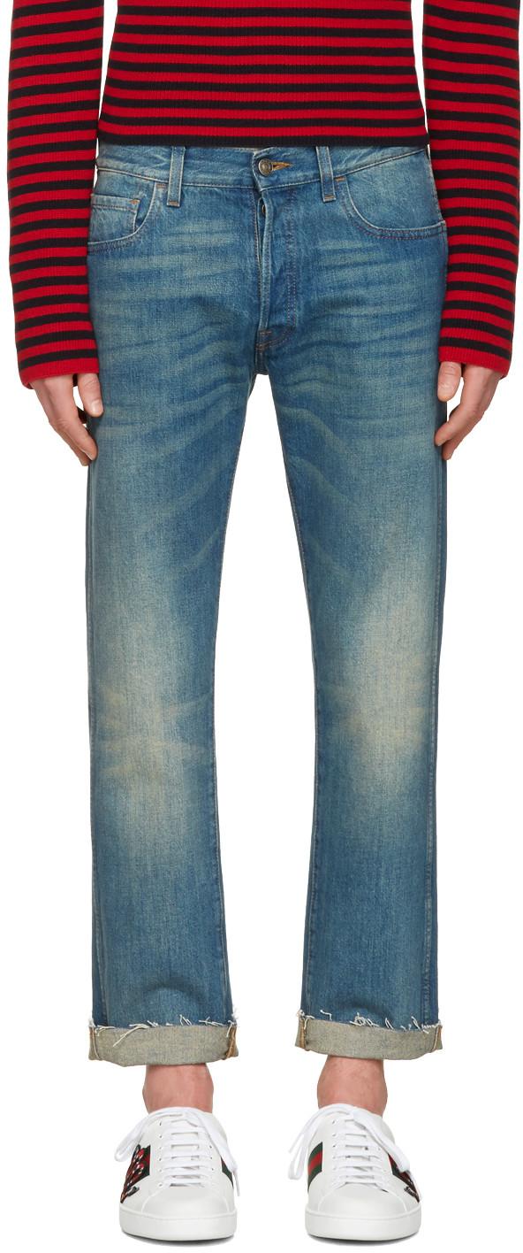 Gucci Tiger-appliquÉ Slim-fit Cropped Jeans In Mid Denim