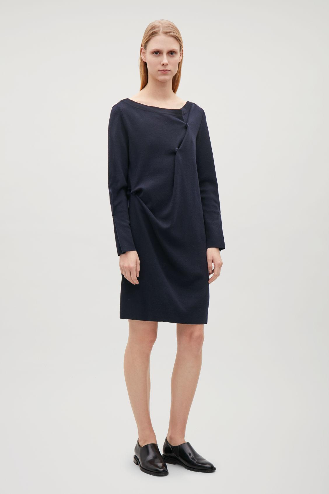 b407f130bf352 Cos Wool-Knit Dress With Drape Detail In Blue | ModeSens