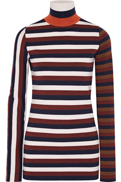 Victoria Beckham Woman Striped Stretch Wool-blend Turtleneck Sweater Navy In Eavy