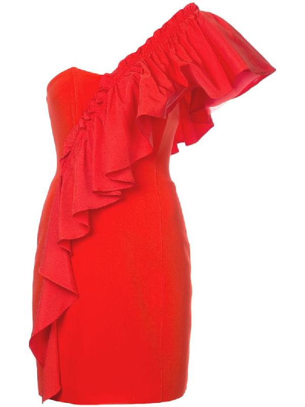 b3f51a64f7e Cinq À Sept Adrie One-Shoulder Ruffle Mini Cocktail Dress In Red ...