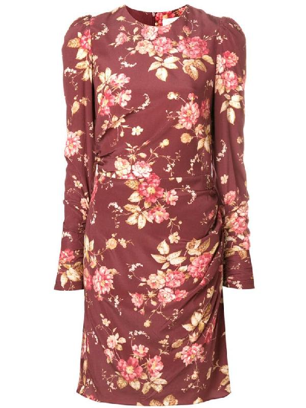 Zimmermann Draped Floral-Print Silk-Blend Crepe De Chine Mini Dress In Red