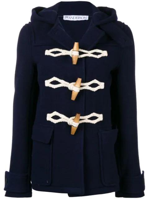 Jw Anderson Wool Felt Duffle Coat In Blue