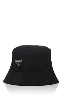 ecda3f5c5b46 Prada Men's Nylon Bucket Hat With Logo, Black | ModeSens