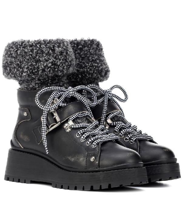 Miu Miu 55mm BouclÉ Sock Leather Ankle Boots In Black