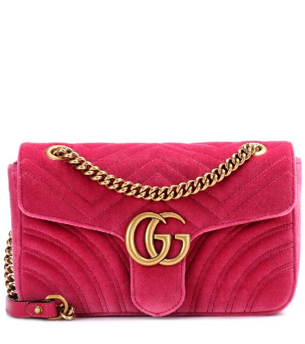 Gucci Small Gg Marmont 2.0 Velvet Shoulder Bag In Pink