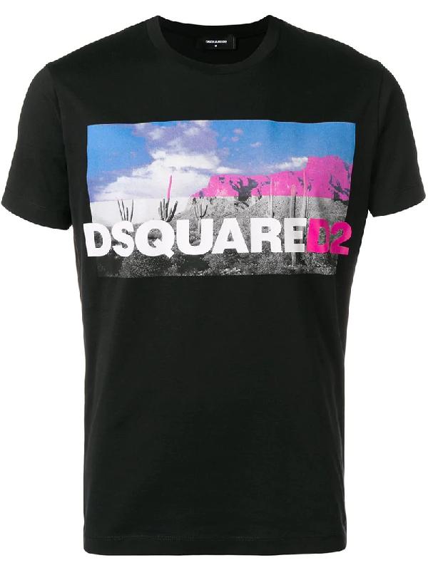 4aca017701 Dsquared2 Desert Printed Cotton Jersey T-Shirt In Black | ModeSens