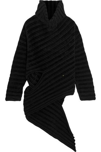 Esteban Cortazar Asymmetric Ribbed-knit Chenille Turtleneck Sweater In Blue
