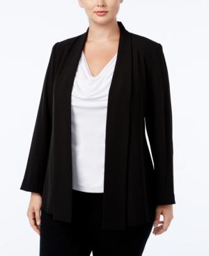 Calvin Klein Plus Size Open-front Soft Jacket In Black