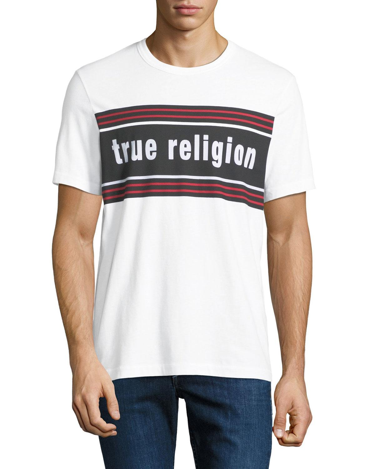 1ad93ff35e873d True Religion Men's Retro Logo-Stripe T-Shirt In White | ModeSens
