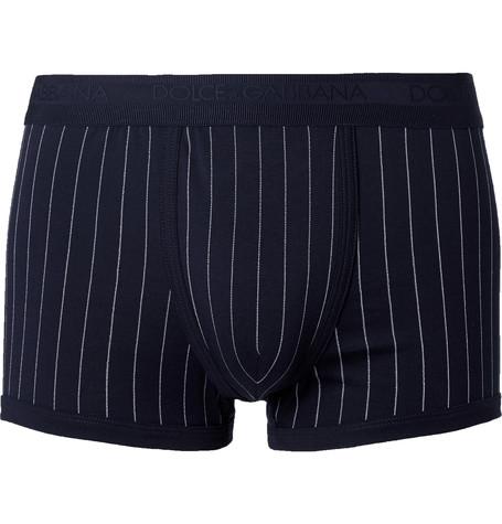 Dolce & Gabbana Pinstriped Stretch Jersey Boxer Briefs In Blue