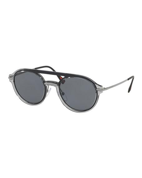 185774f1464 Prada Men s Round Plastic Polarized Sunglasses In Gray