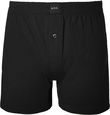 A.p.c. Cotton-jersey Boxer Shorts In Black