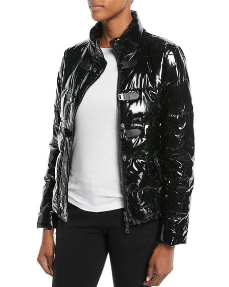 713de74b3a Shiny Quilted Puffer Jacket W/ Hook Closure in Black