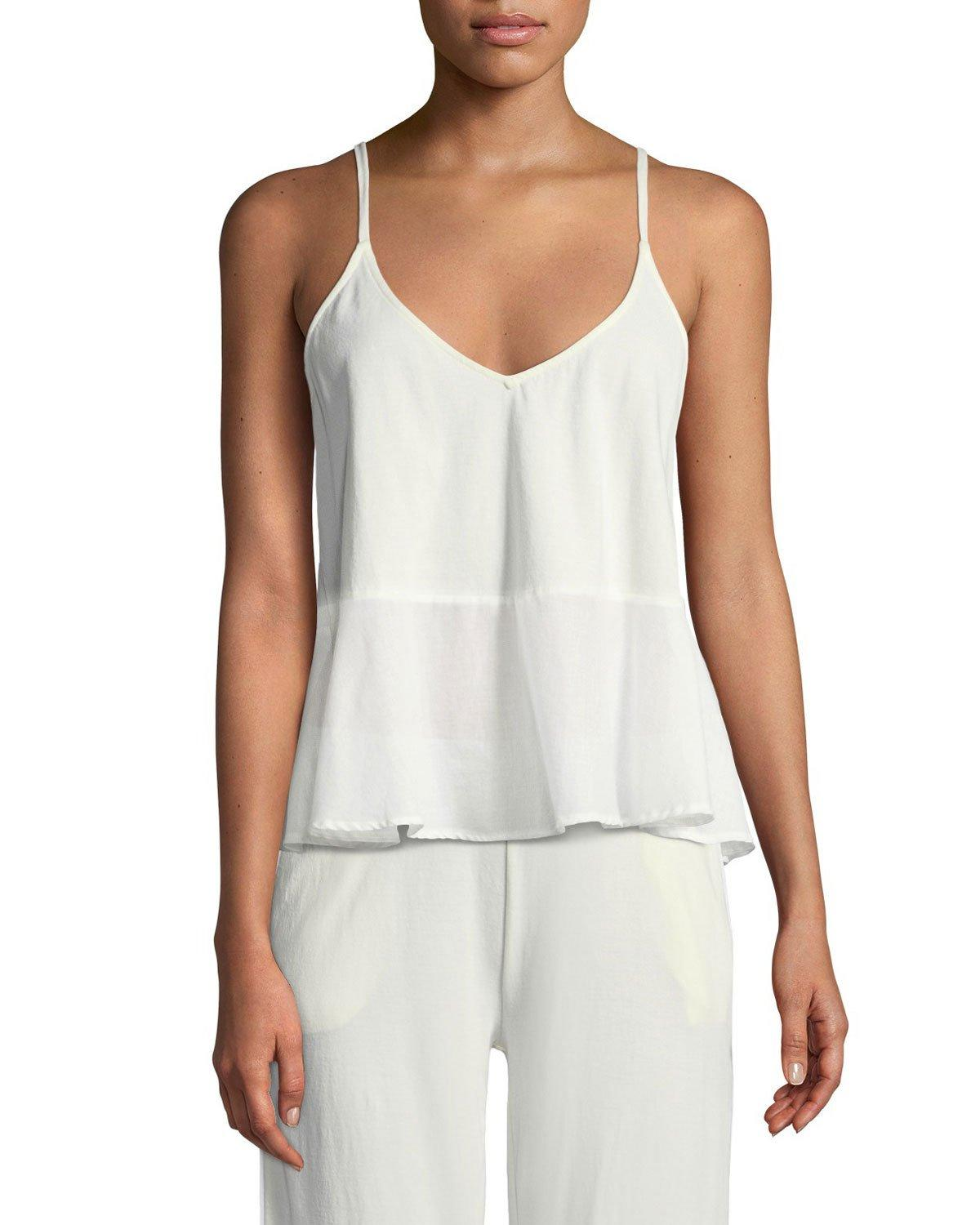 Skin Woman Voile-paneled Pima Cotton Peplum Camisole Off-white