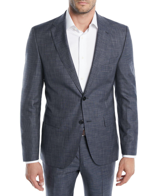 205115d4d Boss Men's Melange Wool-Silk Two-Piece Suit In Charcoal | ModeSens