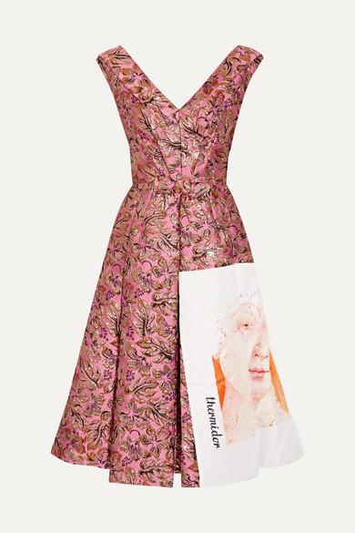 Prada Silk Faille-paneled Metallic Jacquard Midi Dress In Pink