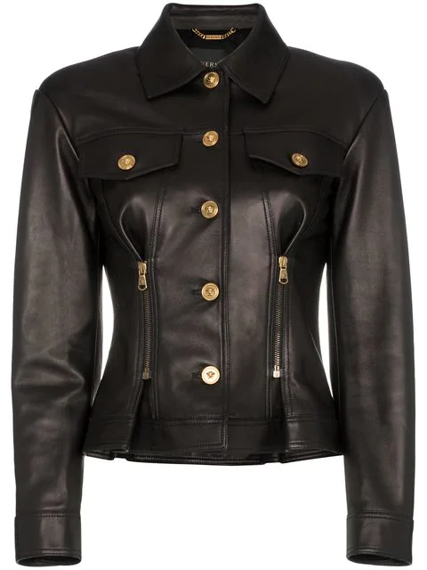 Versace Leather Button Down Zip Detail Jacket In A1008  Black