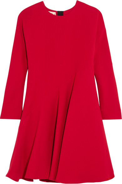 Marni Woman Silk And Wool-blend Dress Red