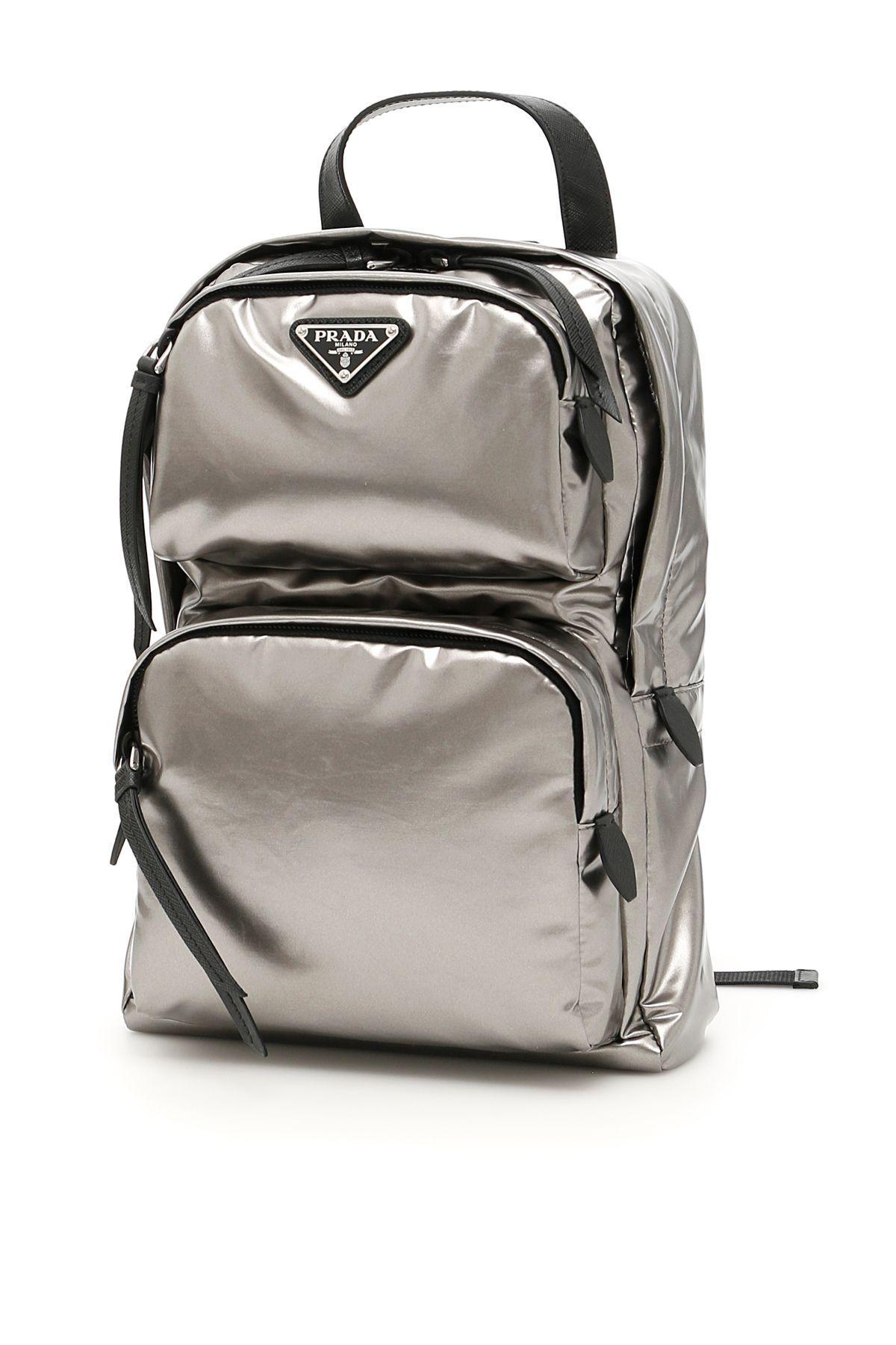 51d1ad8867c4 Prada Laminated Nylon One-Shoulder Backpack In Ferro Nerometallico ...