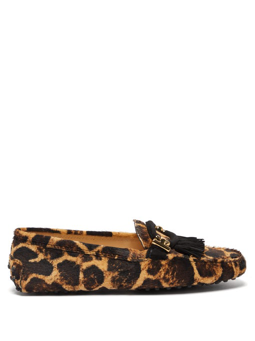 f7940bbad336 Tod's Leopard-Print Gommini Flat Penny Loafers In Brown | ModeSens