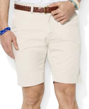 """Polo Ralph Lauren Men's 9.5"""" Classic-fit Flat-front Chino Shorts In Classic Stone"""