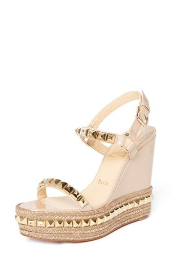 separation shoes 5aab0 fcd10 Cataclou Espadrille Wedge Sandal in Nude/ Gold
