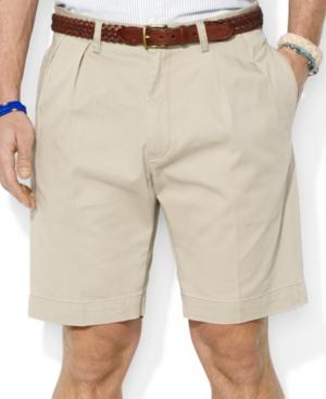 """Polo Ralph Lauren Men's Core 9"""" Classic-fit Pleated Chino Shorts In Hudson Tan"""