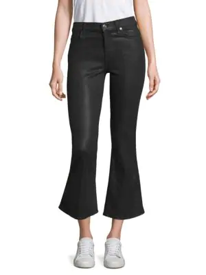 7 For All Mankind Ali Coated Flared Jeans In Black