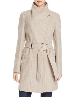 Calvin Klein Plus Size Belted Asymmetrical Walker Coat In Oatmeal Twill