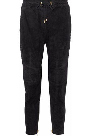 Balmain Suede Track Pants In Black