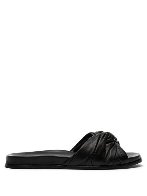 Prada Knot-Detail Leather Slides In Black