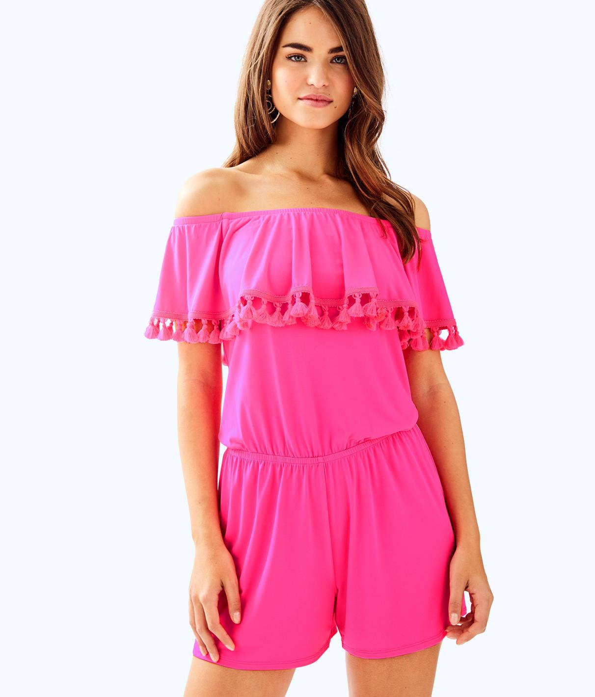 ceb03aff2c890 Lilly Pulitzer La Fortuna Off The Shoulder Romper In Pink Cosmo ...