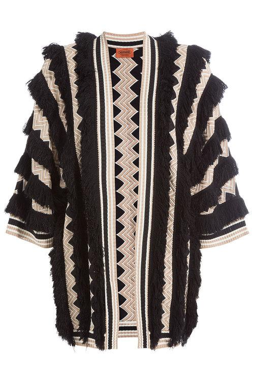 Missoni Fringed Cardigan With Wool In Multicolored