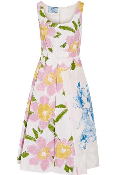 Prada AppliquÉd Silk-faille Dress
