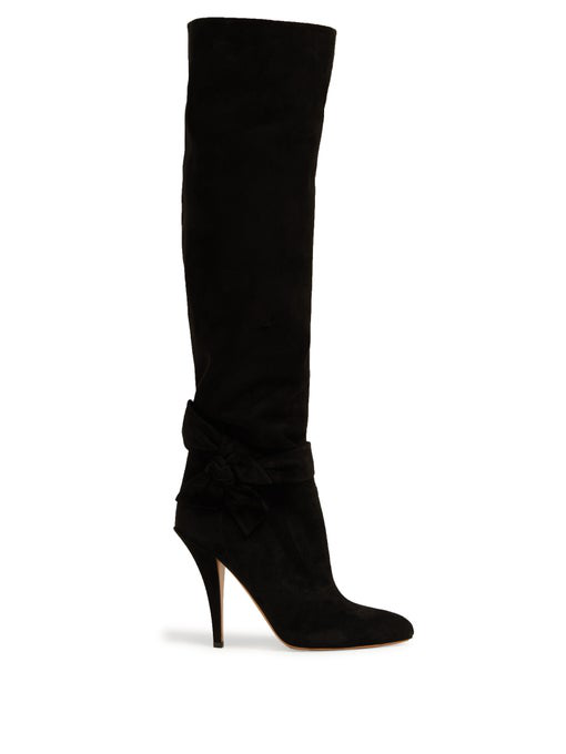 Valentino Suede Side-Bow Knee High Boot 80Mm In Black