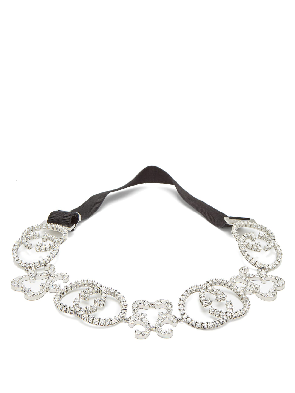 Gucci Crystal-embellished Silver-tone And Stretch Headband