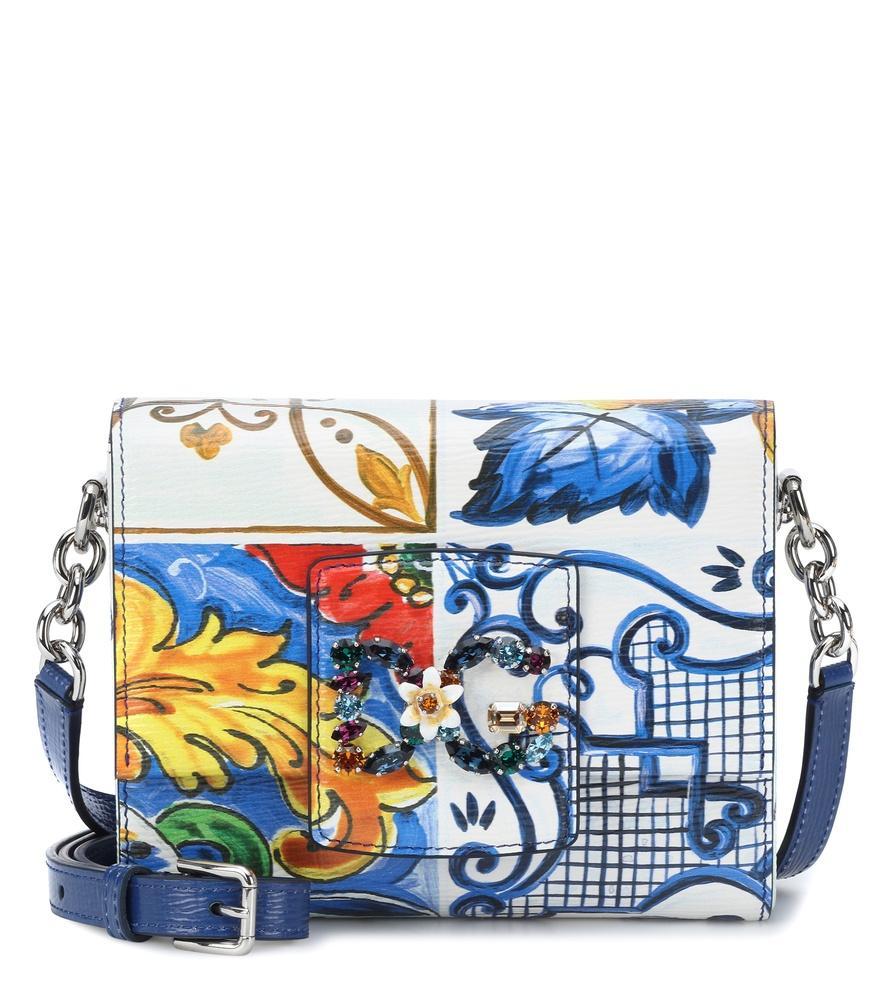 Dolce   Gabbana Dg Millennials Embellished Printed-Leather Shoulder Bag In  Royal Blue cb15f6b9317e4