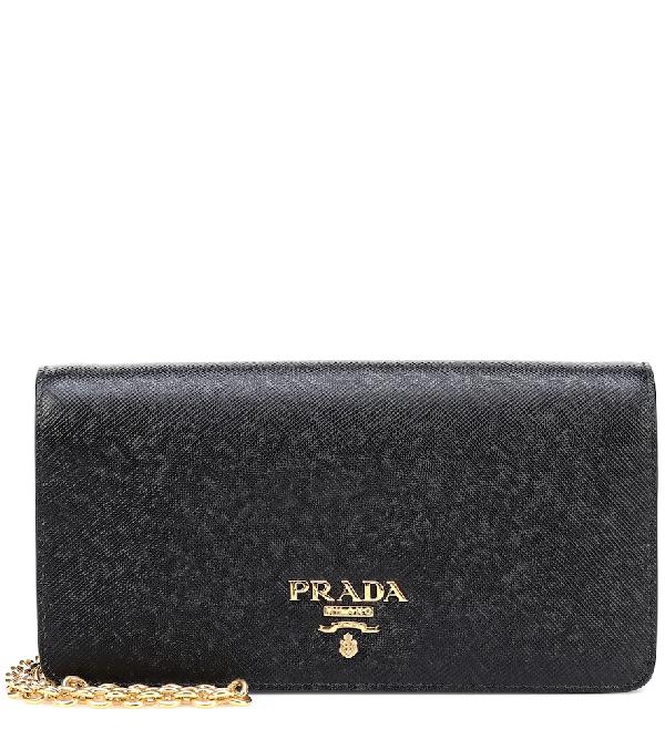 Prada Saffiano Leather Crossbody Bag In Black