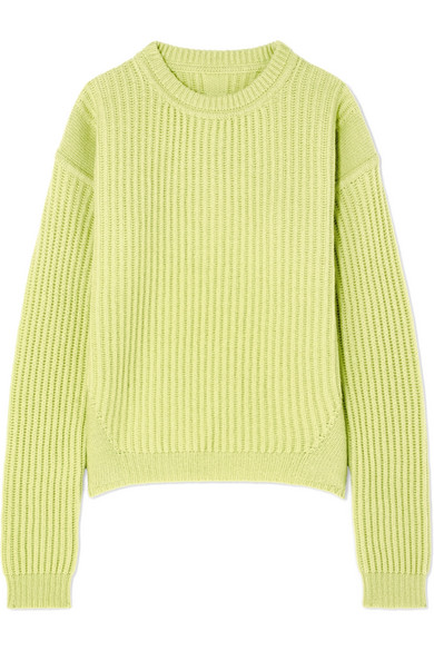 Rick Owens Ribbed-Knit Wool Sweater In Chartreuse