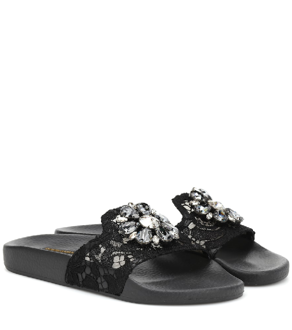Dolce & Gabbana Crystal-Embellished Lace Slides In Black