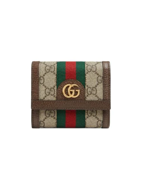 Gucci Ophidia Small Gg Supreme Card Case Wallet In 8745 Beige