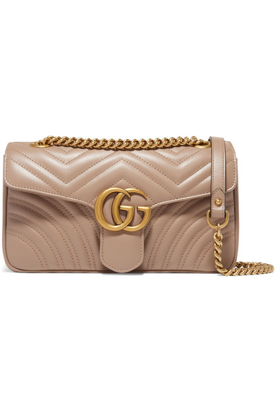 Gucci Gg Marmont Small Quilted Leather Shoulder Bag In Nude