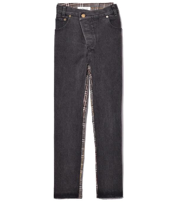 Monse Half & Half Plaid-back Jeans In Black